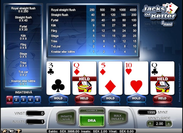 Deuces & Joker Poker Video Poker - Rizk Online Casino Sverige